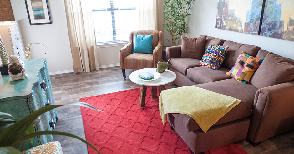 Modern living room at Republic Deer Creek Apartments in Fort Worth, TX