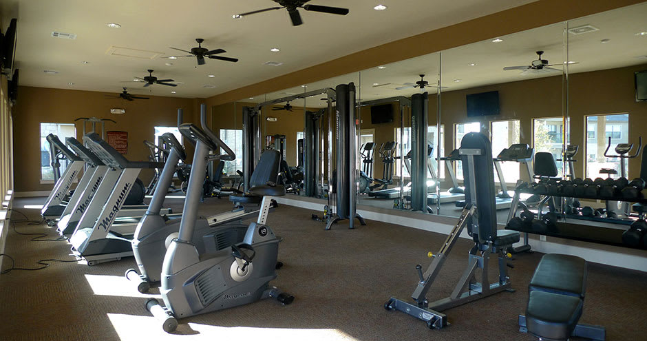 Luxury fitness center at Republic Deer Creek Apartments in Fort Worth, TX