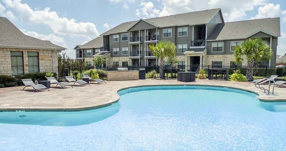 Spacious swimming pool at apartments in Fort Worth, TX