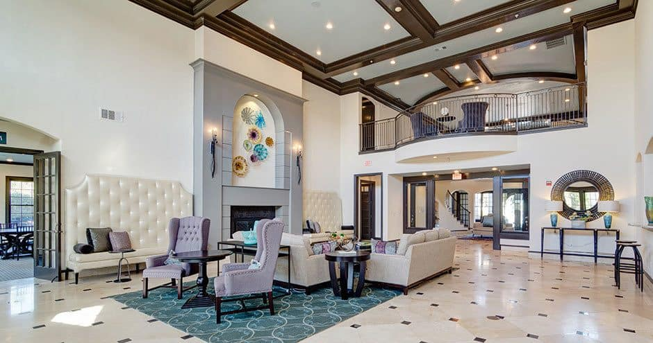 Luxury living room at apartments in Carrollton, Texas