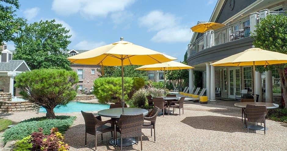 Enjoy a modern private patio at Bella Vida at Coyote Ridge