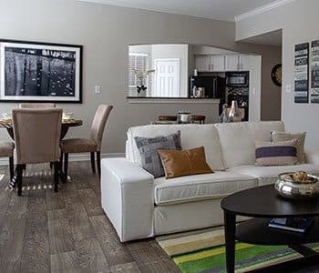Living room at stylish apartments in Carrollton