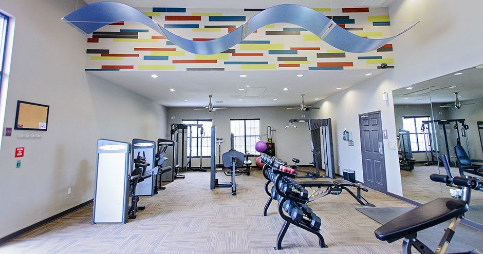Townhomes with a spacious fitness center