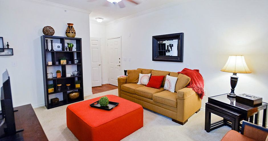 Beautiful living room at Bristol Place Apartments in Baton Rouge, Louisiana