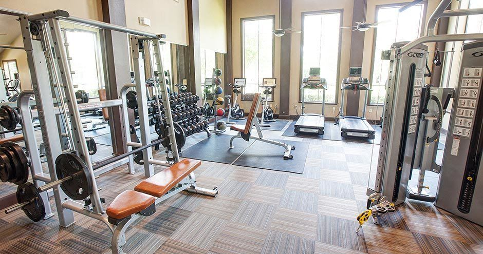 Spacious fitness center at Northgate Oaks Apartments in Houston, Texas