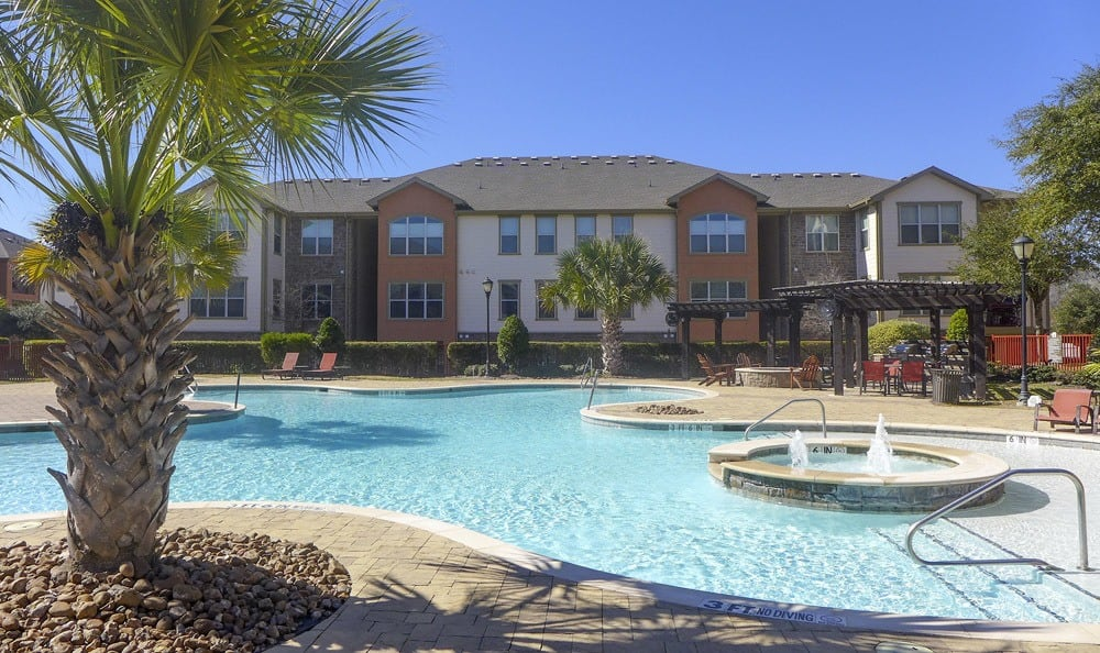 Spacious pool area at The Fountains of Conroe.