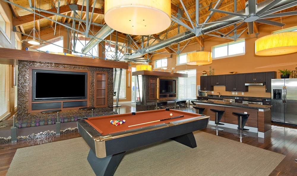 Billiard room in the clubhouse at The Landings at Brooks City Base.