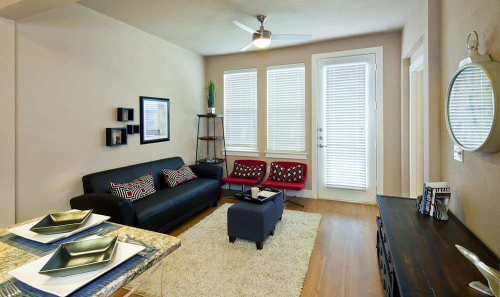 Bright and open living room at The Landings at Brooks City Base.