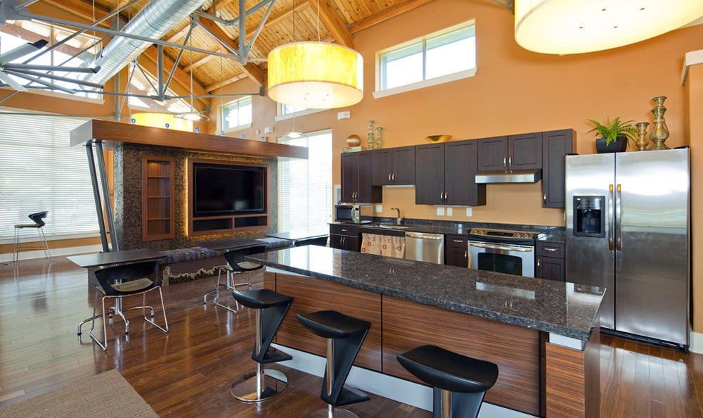 Clubhouse kitchen at The Landings at Brooks City Base.