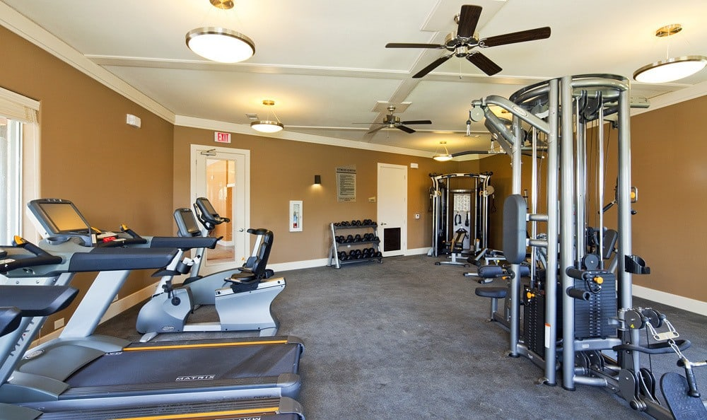 Fitness center at The Landings at Brooks City Base.