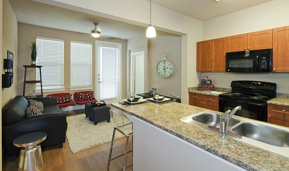 Kitchen and living room space at The Landings at Brooks City Base.