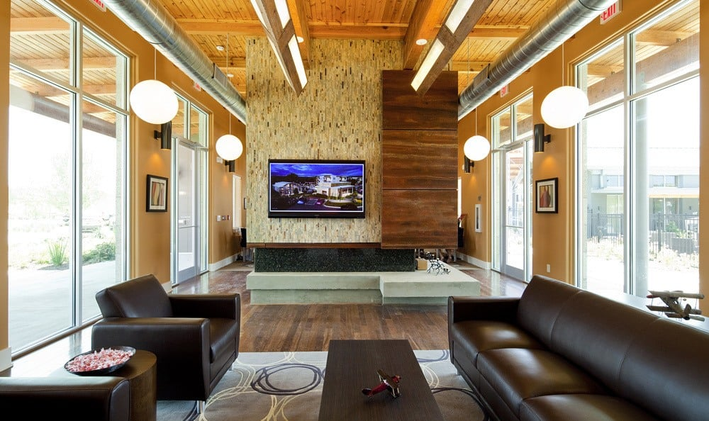 Leasing office sitting area at The Landings at Brooks City Base.
