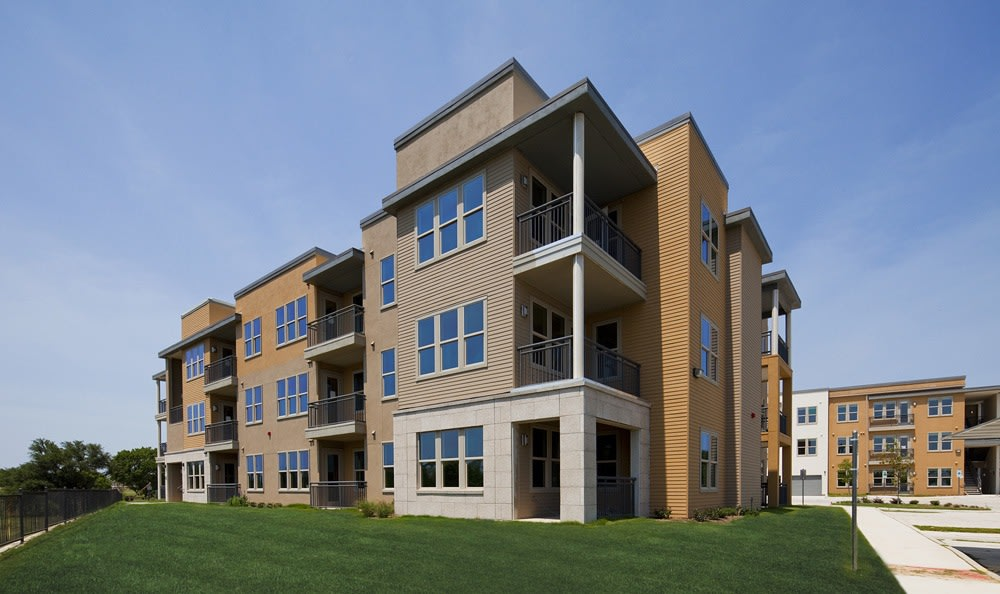 Modern architecture exterior at The Landings at Brooks City Base.