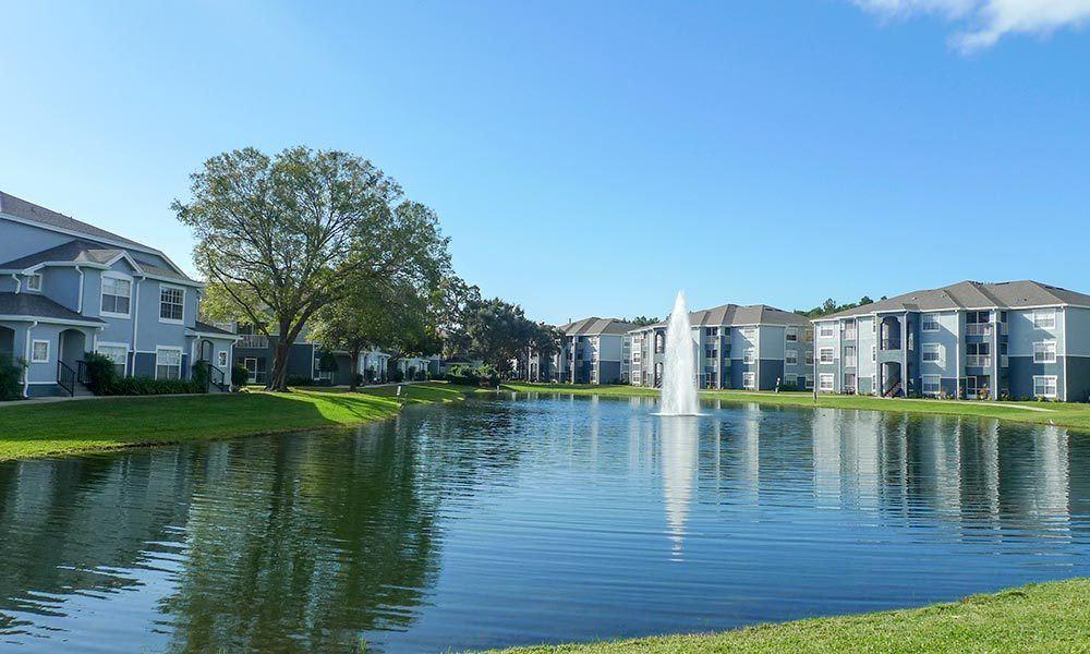 Beautiful lake at Promenade at Aloma in Oviedo, Florida