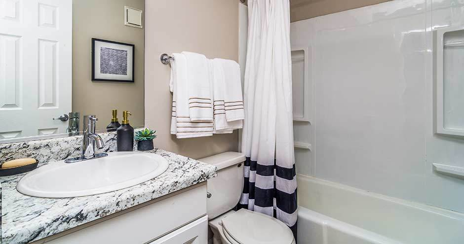 Cozy bathroom at apartments in Westmont, IL