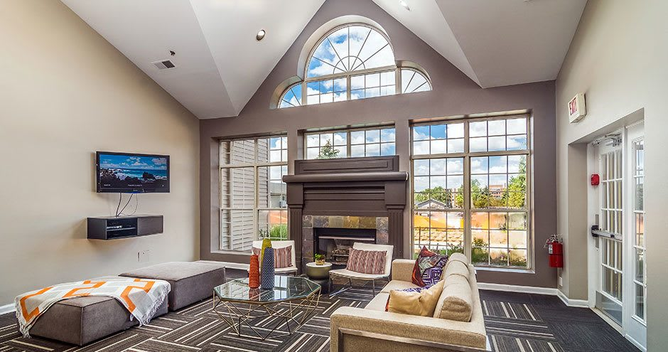 Spacious living room at Axis at Westmont in Westmont, IL
