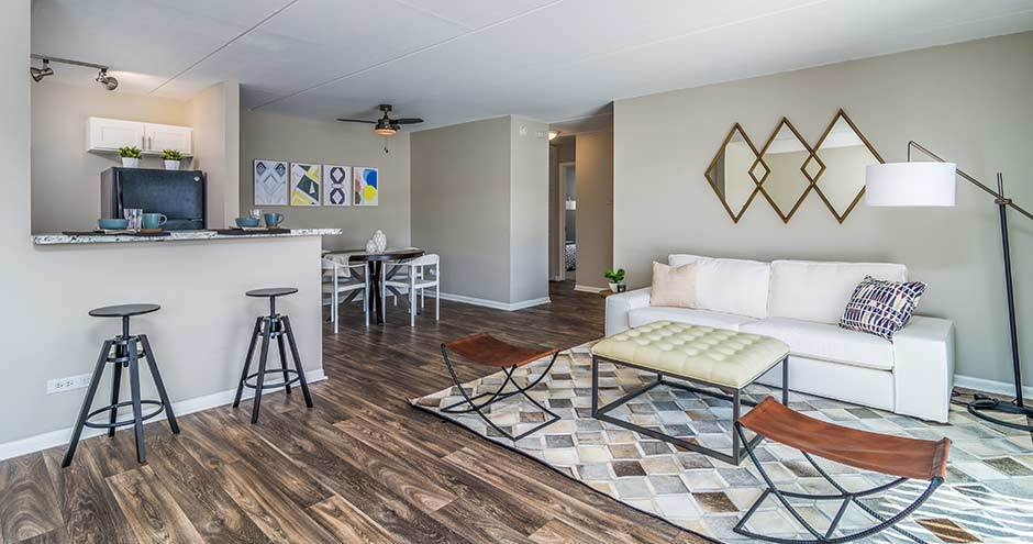 Our apartments in Westmont, IL showcase a spacious living room
