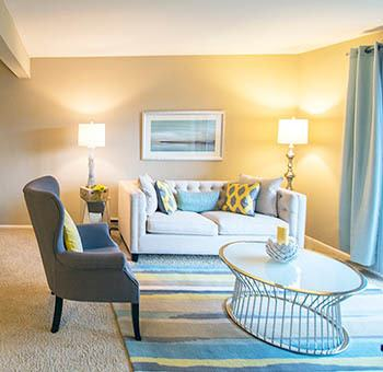 Bedroom at stylish apartments in Waukegan