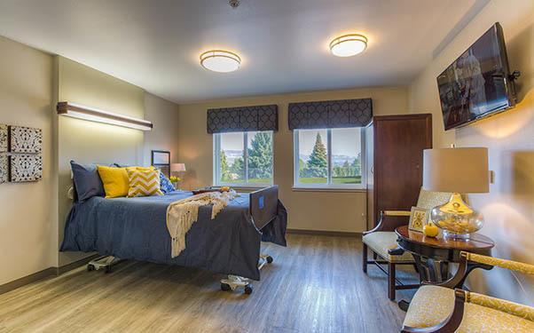 Bedroom at Regency Wenatchee Rehabilitation and Nursing Center in Wenatchee, WA