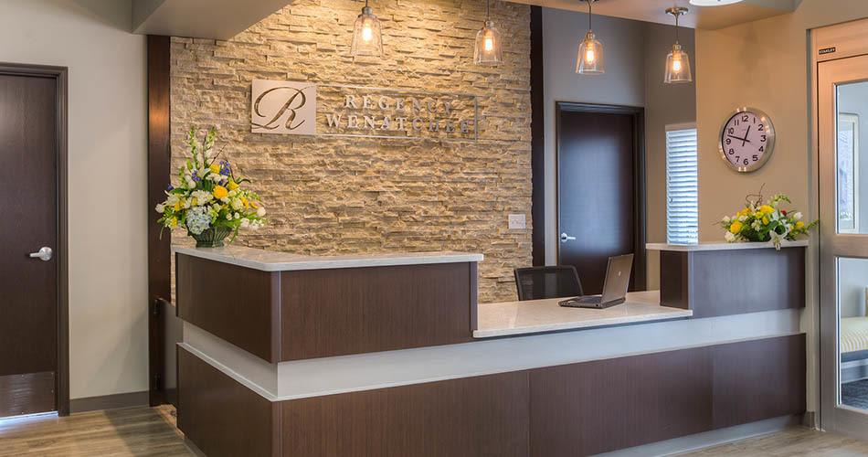 Reception desk at Regency Wenatchee Rehabilitation and Nursing Center in Wenatchee, WA