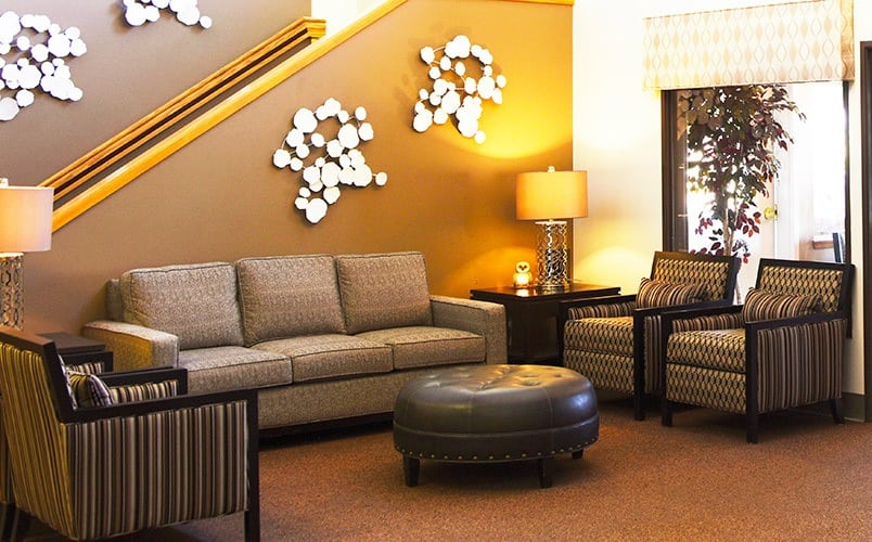 An alternate view of the lobby seating area at Senior living community in Prosser, Washington