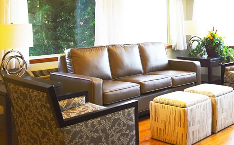 Lobby seating area at Senior living community in Prosser, Washington