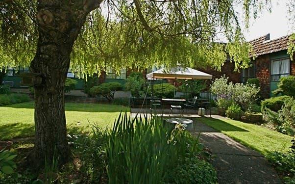 Beautiful landscaping at Regency Gresham Nursing and Rehabilitation Center