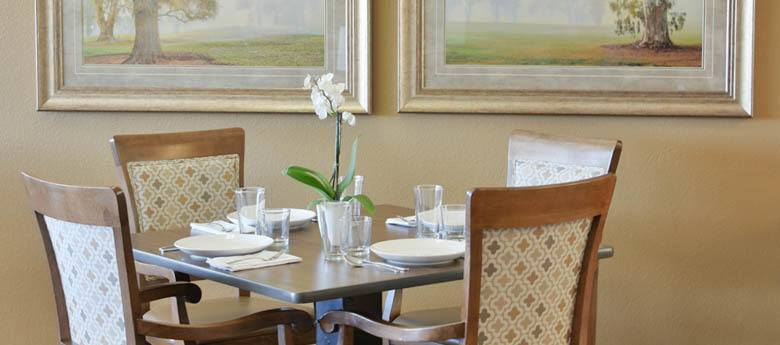 Dining table at our senior living community in Prineville, OR