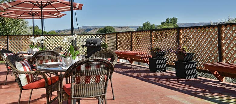 Patio at our senior living community in Prineville, OR