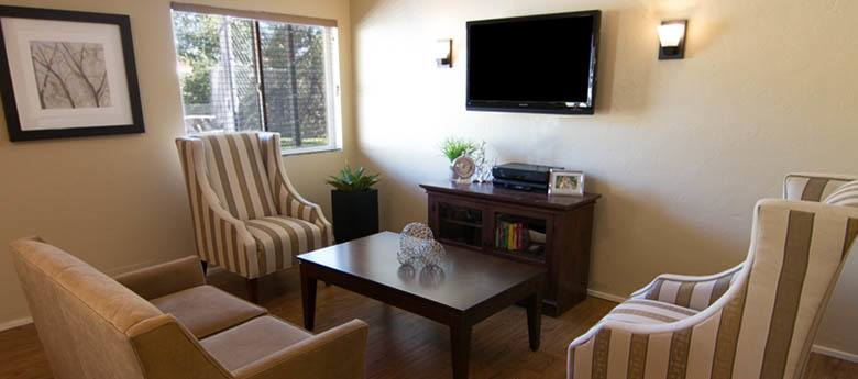TV lounge at Regency Prineville Rehabilitation and Nursing Center in Prineville, OR