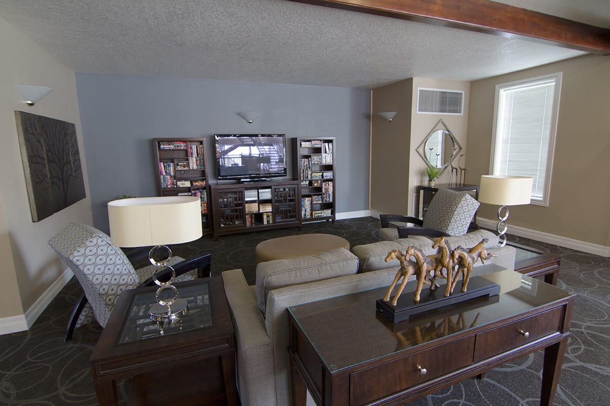 The TV room has a host of entertainment options for residents and guests at Regency Village at Bend in Bend
