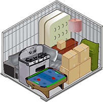 10 x 10 storage unit showing typical items stored in this size unit