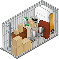 5 x 10 storage unit showing typical items stored in this size unit