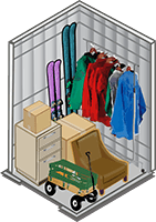 5 x 5 storage unit showing typical items stored in this size unit