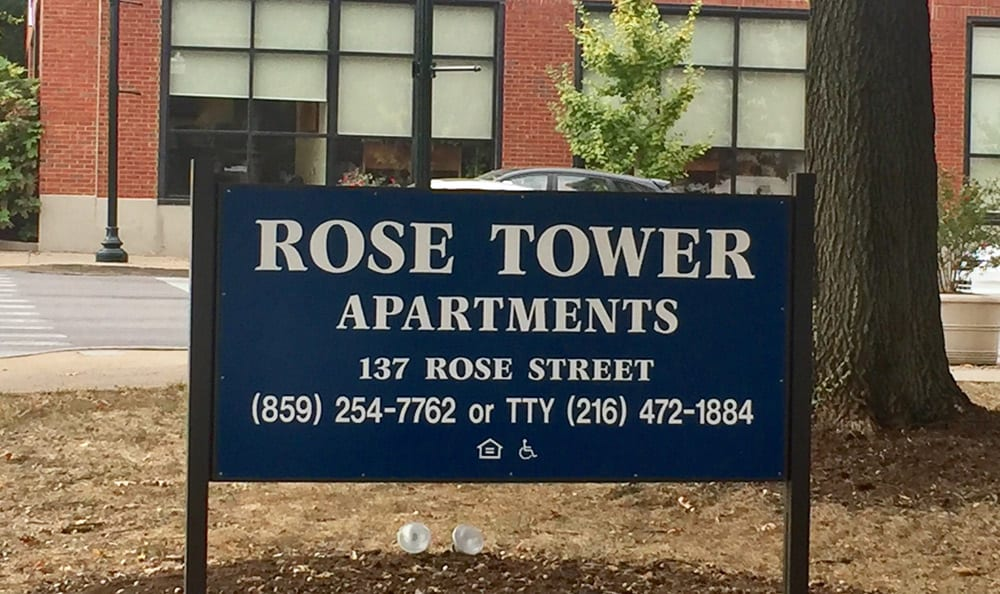 Sign for Rose Tower Apartments in Lexington