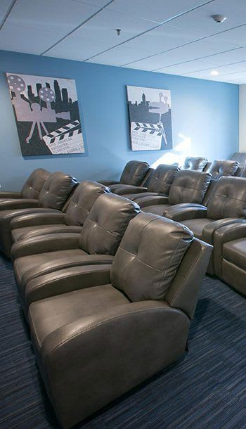 Modern movie theatre at senior apartments in Detroit, MI