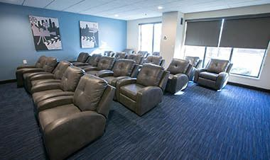 Movie theatre at the apartments for rent in Detroit