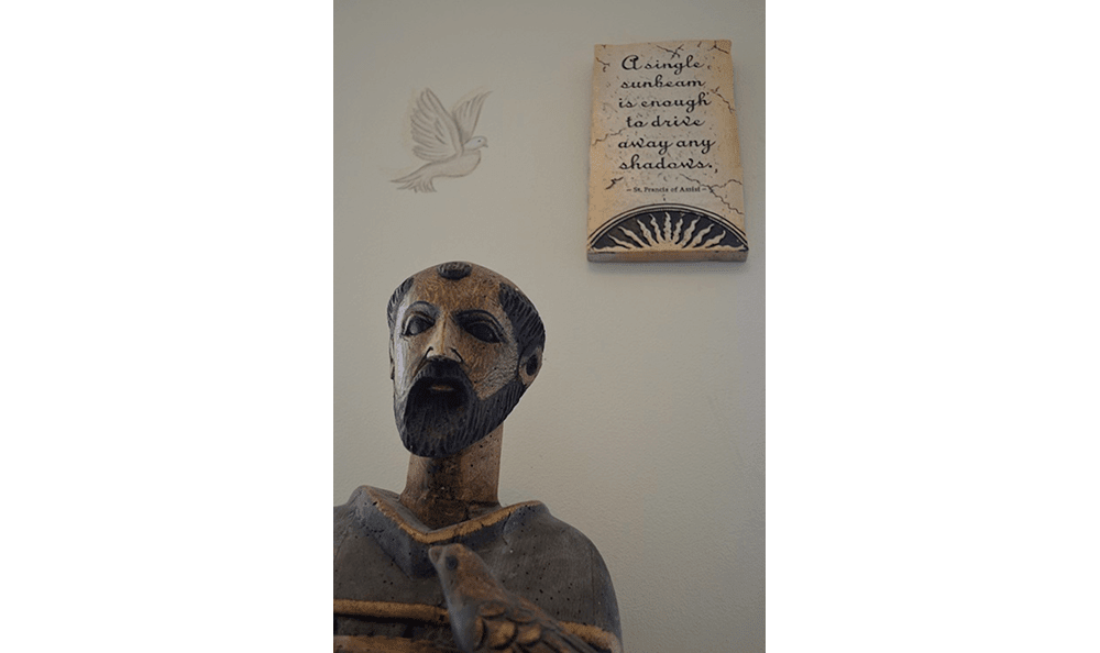 Statue in the office at St. Francis of Assisi Veterinary Medical Center