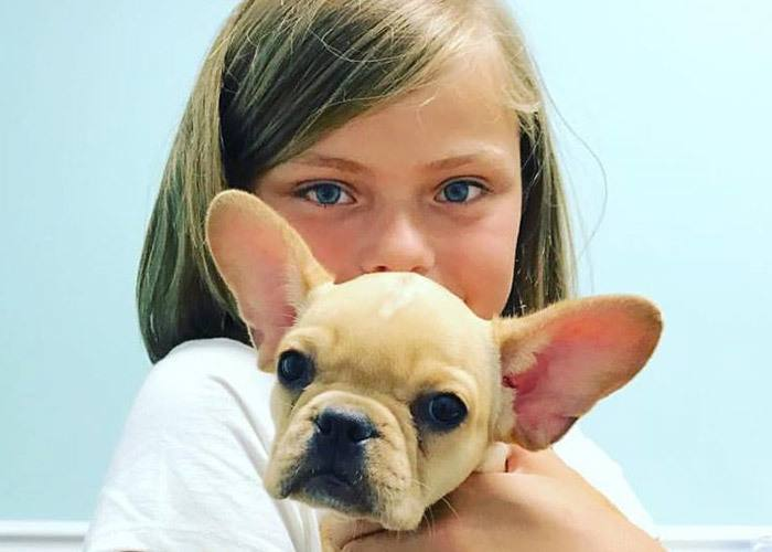 Girl with French Bulldog in St. Simons Island