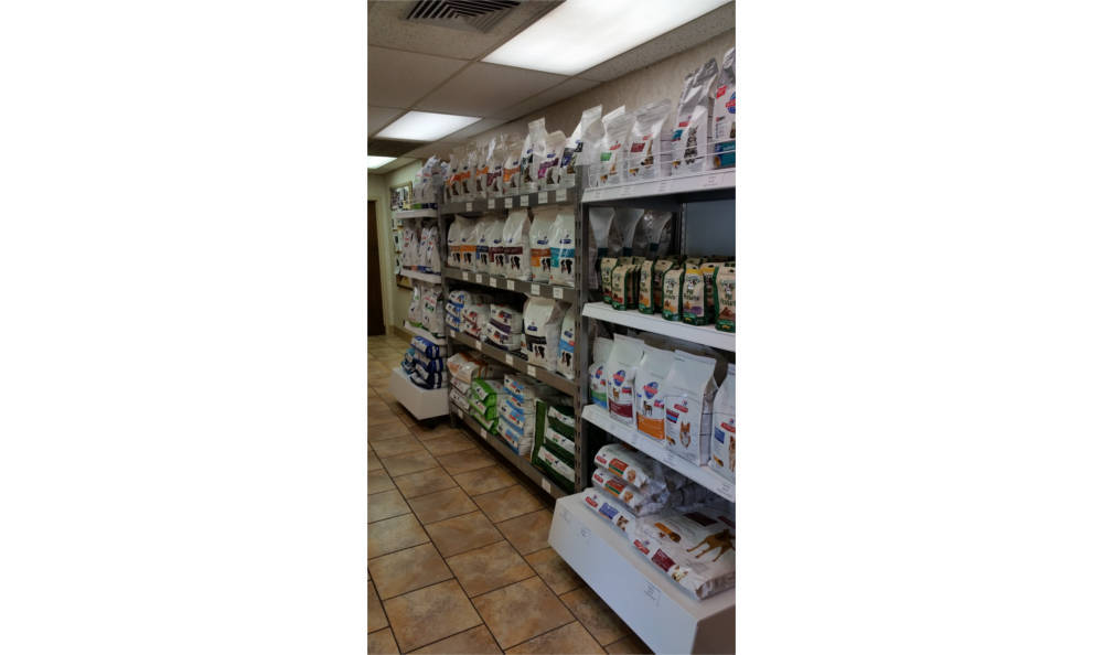 Our stock of food and other supplies at Veterinary Associates