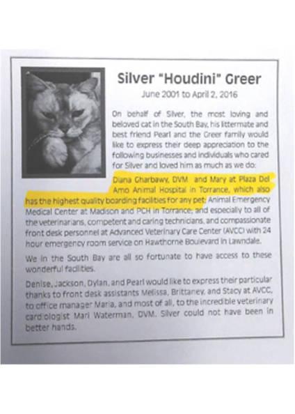 DG testimonial for Plaza Del Amo Animal Hospital & Pet Keeper