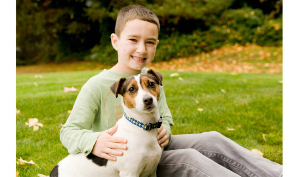 A boy and his dog at Kitsap Veterinary Hospital in Port Orchard, Washington