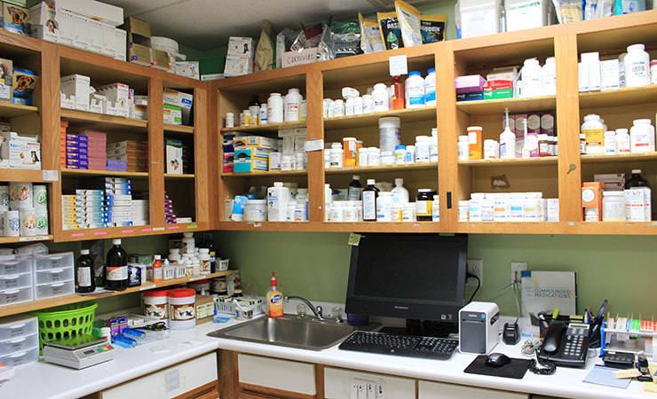 In-house pharmacy at All Creatures Animal Hospital