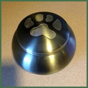 Paw print urn at Danvers Animal Hospital