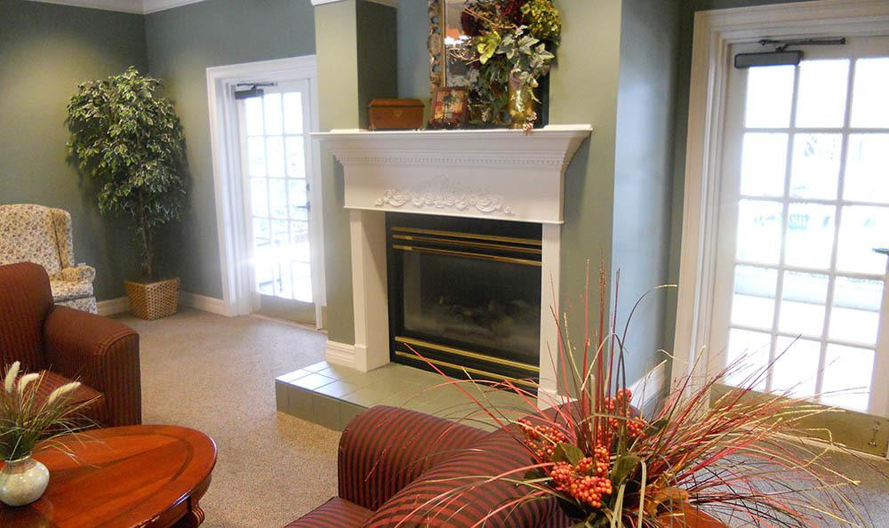Fireplace at senior living in Haines City