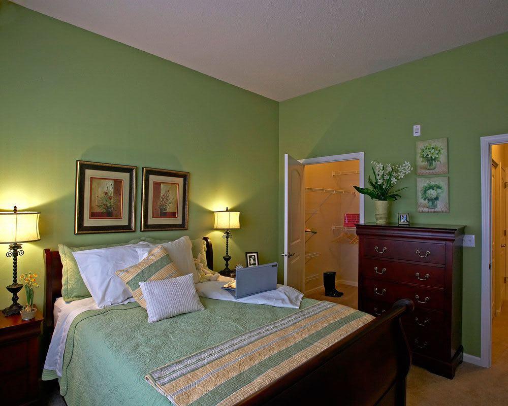 Model bedroom at City Walk at Woodbury