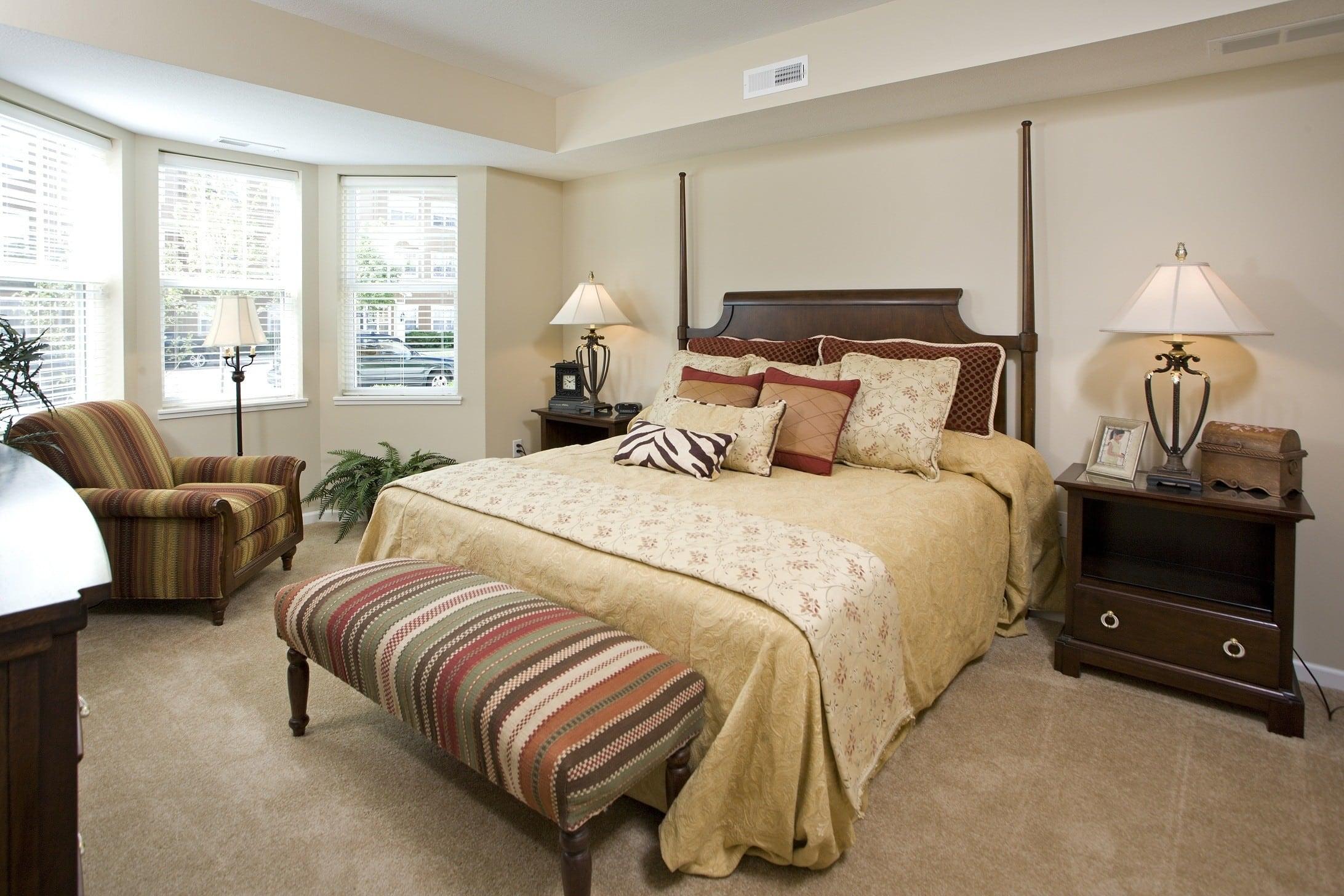 Model bedroom at City Walk at Woodbury.