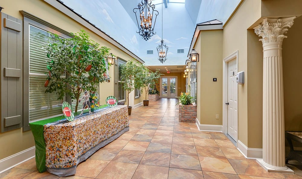 Senior Living in Baton Rouge has open Hallways