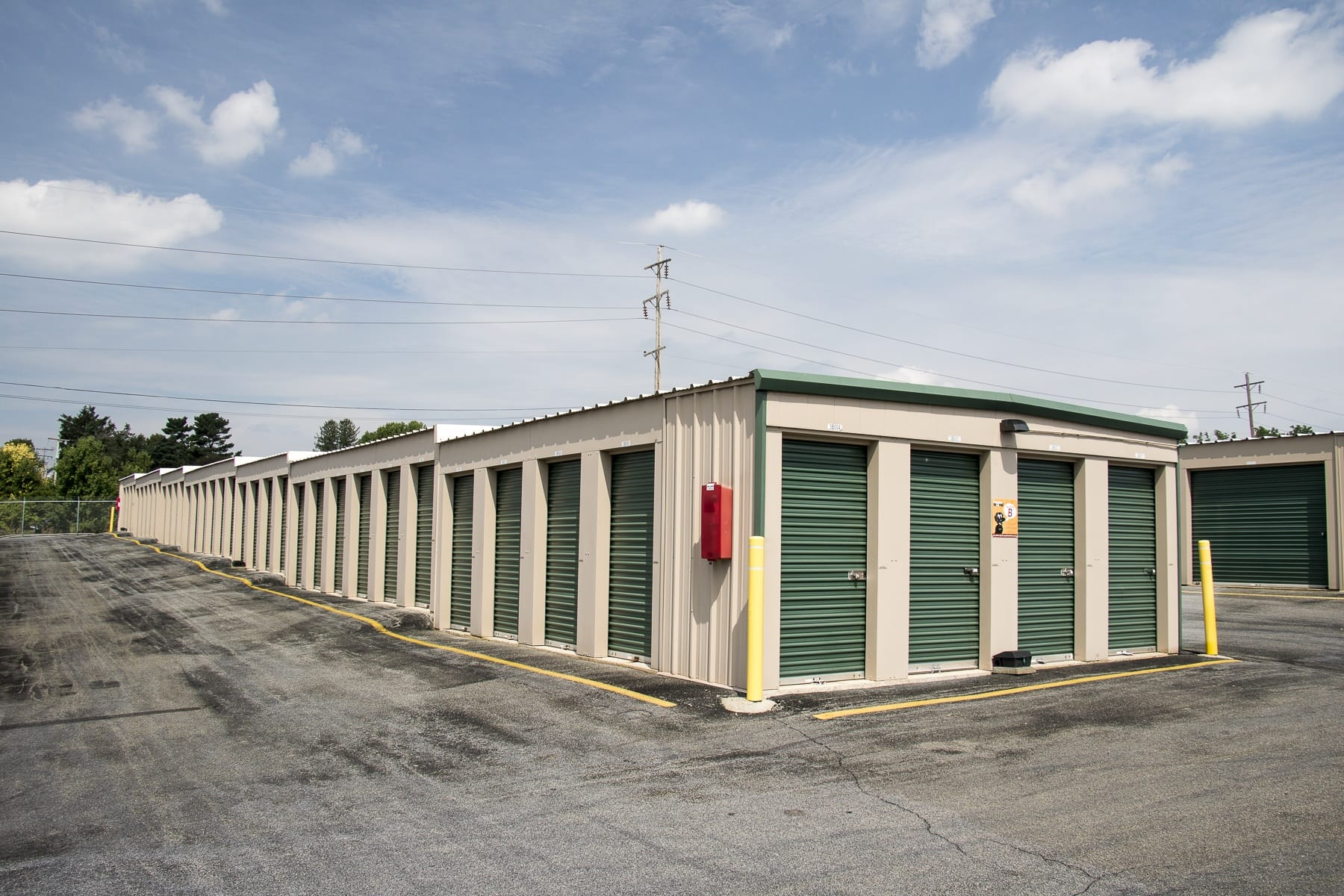 Building door and exterior units at Storage World in Reading, PA