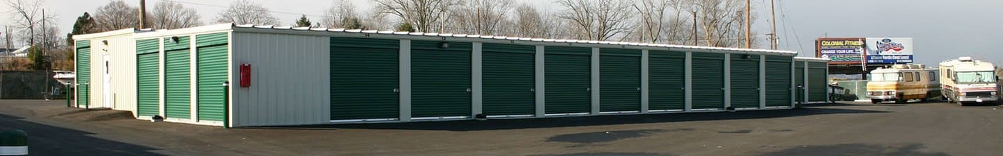 A row of self storage units at Storage World